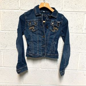 HYDRAULIC Denim blue Jean jacket crop stre…